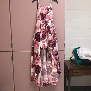 Strapless pink floral-print dress from JC Penny